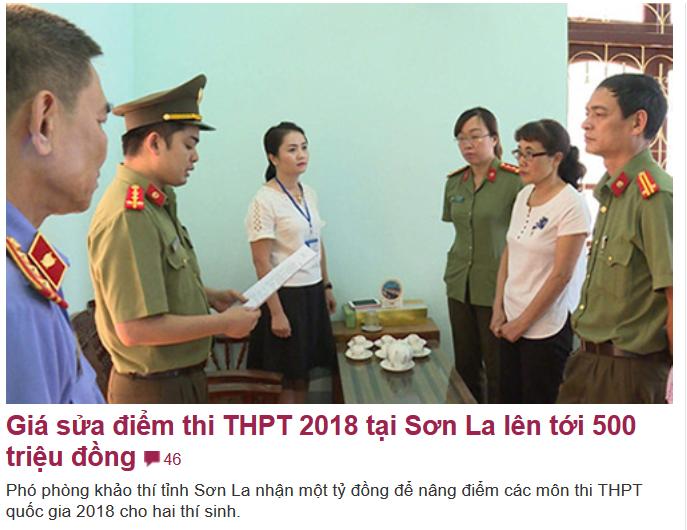 Giá sửa điểm thi THPT 2018 tại Sơn La lên tới 1/2 tỷ đồng
